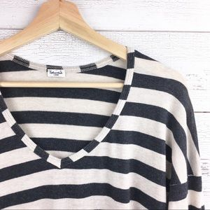 SPLENDID Striped Long Sleeve V Neck Tee Shirt